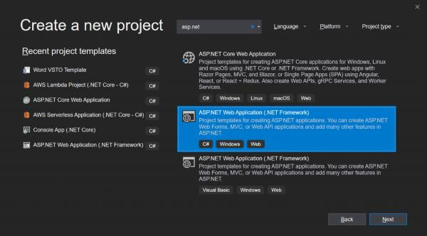 Microsoft .net screenshot